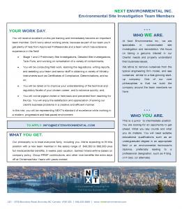 Environmental Site Investigation at Next Environmental