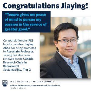 Jiaying Zhao promoted to Associate Professor