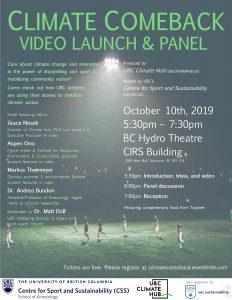Climate Comeback Video Launch & Panel