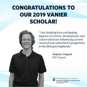 Congratulations Vanier Canada Graduate Scholarships (Vanier CGS) Award Winner Stephen Chignell
