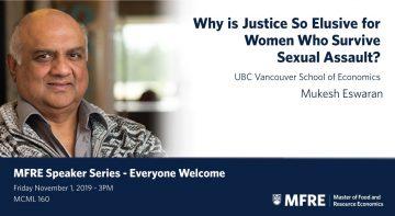MFRE Speaker Series: Dr. Mukesh Eswaran, UBC Vancouver School of Economics – November 1, 2019