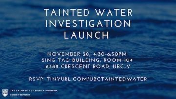 Tainted Water Investigative Event Launch – November 20th, 2019