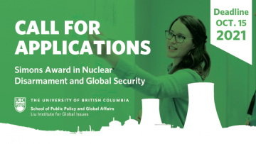 Call for Applications: 2021 Simons Award in Nuclear Disarmament and Global Security